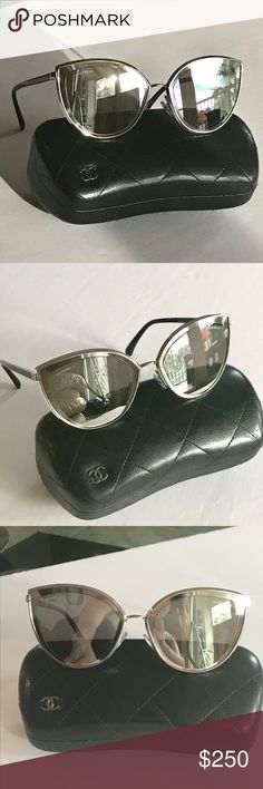 4bc7f2fd07d6 Shop Women s CHANEL Silver Black size OS Sunglasses at a discounted price  at Poshmark. Description     Brand new   Stunning Chanel silver framed