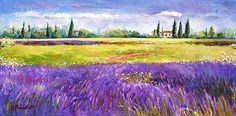 Original Oil Painting LANDSCAPE Lavender Fields by JBeaudetStudios,