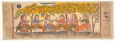 Six Gopis Seated Beneath Trees: Page from a Dispersed Bhagavata Purana (Ancient Stories of Lord Vishnu), Ink and opaque watercolor on paper, India (Gujarat, Ahmedabad) Vintage Wall Art, Vintage Walls, Bhagavata Purana, Lord Vishnu, Historical Maps, Museum Collection, Heritage Image, Metropolitan Museum, Asian Art