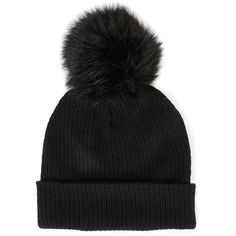 Sole Society Ribbed Beanie W/ Pom Detail ($33) ❤ liked on Polyvore featuring accessories, hats, black, ribbed beanie hat, pompom hat, faux fur beanie, faux fur hats and faux fur pom pom hats
