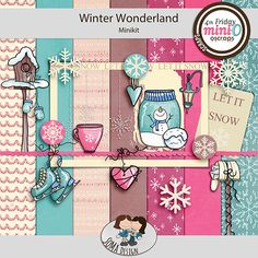 Oscraps.com :: Shop by Category :: All New :: SoMa Design: Winter Wonderland - MiniO - Minikit Of Brand, Winter Wonderland, Digital Scrapbooking, Snow, Comics, Mini, Cards, Design, Color