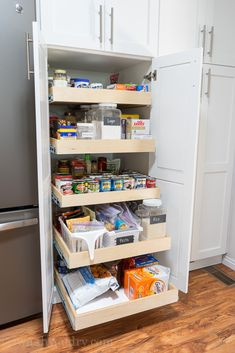 Roll Out Pantry Shelves for extra deep pantry! Roll Out Pantry Shelves for extra deep pantry! Deep Pantry Organization, Ikea Pantry, Pantry Cupboard, Cupboard Shelves, Pantry Shelving, Pantry Storage, Wall Pantry, Pantry Closet, Kitchen Pantry Design