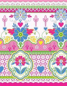 Catalina Estrada Encaje Wallpaper Border-Pink   1280100-Pink   £45.00