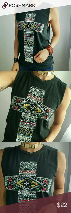 Embroidered Cross Muscle Tank Super comfy 100% cotton muscle tank! Says small, but could definitely fit a Med too! Tops Tank Tops