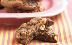 Double Chocolate Chunk-Peanut Cookies - Best-Loved Cookie Recipes and Bar Recipes - Southern Living Peanut Cookie Recipe, Best Cookie Recipes, Fun Cookies, Peanut Butter Cookies, Baking Recipes, Dessert Recipes, Desserts, Kid Recipes, Mexican Wedding Cookies