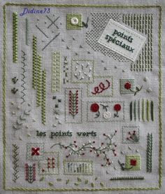 SAL mon cahier de broderie - feuillet 7 - page 13 Hand Embroidery Stitches, Silk Ribbon Embroidery, Embroidery Techniques, Cross Stitch Embroidery, Hand Embroidery Projects, Embroidery Sampler, Stitch Games, Kawaii Cross Stitch, Stitch Book