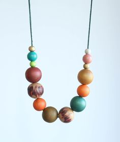 Fall harvest colors wood necklace dark emerald green by Myartspace