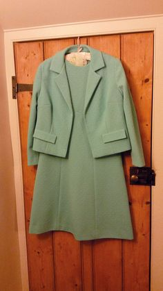 Vintage Handmade Two Piece Turquoise 50's 60's crimplene style dress suit.