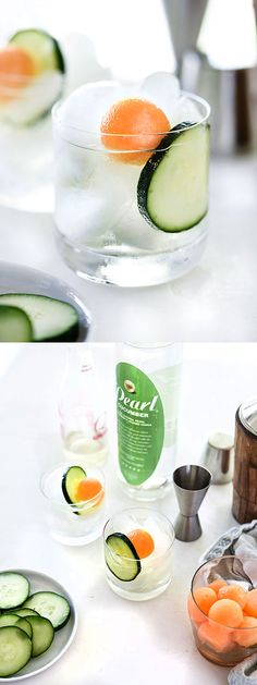 This fresh and light cocktail is the best for brunch or summer sipping foodiecrush com Refreshing Drinks, Fun Drinks, Healthy Drinks, Beverages, Summer Cocktails, Cocktail Drinks, Cocktail Recipes, Cucumber Cocktail, Non Alcoholic Drinks