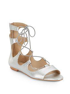 Loeffler Randall Dani Metallic Leather Lace-Up Gladiator Sandals