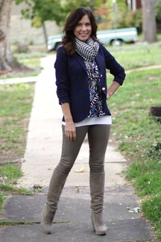 """Bundled up in boots, scarves, and skinnies #madeinUSA outfit details: whitetank top byKennedyfromHot Mama, Boulder; blue and gray silk print top by Tucker from eBay;Theory """"Parmentia Pryor"""" navy blazer fromruelala.com;gray skinny jeans byBullet Blue jeans;feathernecklacebyMercer & Jayne"""
