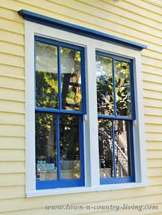 Double Farmhouse Windows   blue is Down Pour by SW  White is Snow Bound