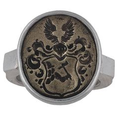 Antique 16th Century North Germany Baltic States Silver Merchant's Ring | From a unique collection of vintage signet rings at https://www.1stdibs.com/jewelry/rings/signet-rings/