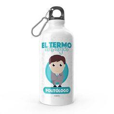 Termo - El termo del mejor politólogo, encuentra este producto en nuestra tienda online y personalízalo con un nombre. Water Bottle, Drinks, Social, Priest, Carton Box, Store, Crates, Musica, Working Man