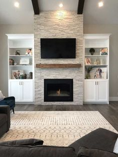 New DIY Fireplace Ideas – Farmhouse Fireplace Mantels Farmhouse Fireplace Mantels, Fireplace Tv Wall, Fireplace Built Ins, Living Room With Fireplace, Fireplace Design, Fireplace Ideas, Modern Stone Fireplace, Built In Around Fireplace, Basement Fireplace