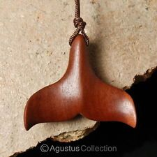 WHALE Tail FIN Focal PENDANT Fine Red Sabo Sawo Wood Bali Art Carving