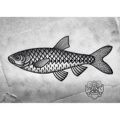 Чебак. #fish #tattoo #tattooflash #hermanix #dotwork