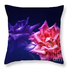 """Two Roses Throw Pillow 14"""" x 14"""""""