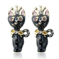 """Ever Faith 18K GP Black Cat Queen Crown Stud Earring Austrian Crystal Animal Bow Ever Faith. $14.95. With so cute and pleasing appearance, you can't help yourself to own and kiss it.. Austrian Crystal (one of the best quality crystals in the world ). Measures approx.2.9cm(1.14"""") long by 1.3cm(0.51"""") wide."""