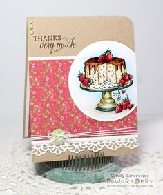 Tea in the Garden stamp set by Power Poppy, card design by Cindy Lawrence.
