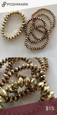 Bracelet Bundle Total of 5 bracelets.  Will fit on any wrist.  Stretch. Jewelry Bracelets