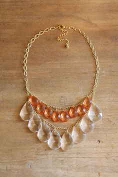 Coral and Clear Teardrop Statement Necklace by shopnestled on Etsy, $30.00