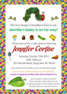 very hungry caterpillar baby shower DIY printable invite