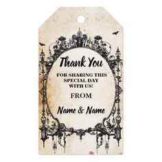 Thank you Tag Gothic Frame Favour Tags Wedding - thank you gifts ideas diy thankyou