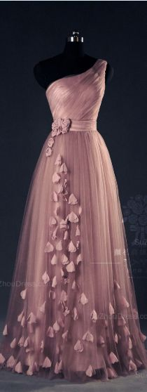 Pink Evening Dresses One Shoulder A Line Floor Length Flower Appliques Chiffon Lace-up Elegant Prom Gowns
