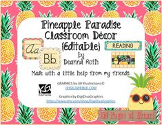 This editable Classroom Decor pack will bring the fun of Pineapple Decor into your classroom scheme. This pack is over 150 pages of Classroom Fun! This pack includes:Word…