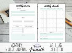 Printable monthly bullet journal monthly log monthly