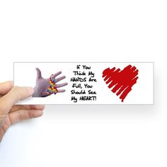 Sticker (Bumper) autism my heart is full Bumper Sticker by FamiliesTogetherKS - CafePress Car Bumper Stickers, Everywhere You Go, White Vinyl, Autism Awareness, Sticker Design, Playing Cards, Entertaining, Humor, Heart