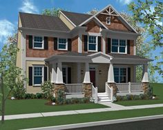 front porch additions to a two story home | Home Towne Square by Landmark Homes