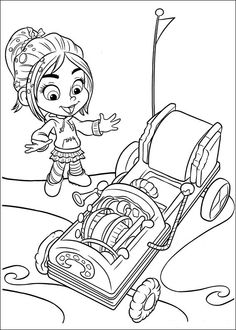 WreckIt Ralph coloring picture/ Vanellope and her kart