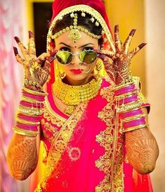 The style of bride on mehndi ceremony .