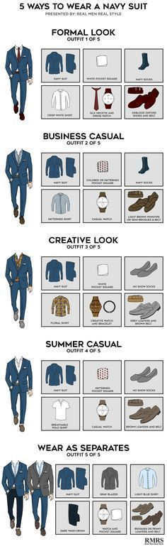 5 Outfits From One Navy Suit – Infographic 5 Ways To Wear A Navy Suit – Which is your favorite? The post 5 Outfits From One Navy Suit – Infographic appeared first on Best Ideas For Women. Costume Bleu Marine, Style Masculin, Suit Fashion, Fashion Tips, Fashion Outfits, Men's Wardrobe, Men Style Tips, Mens Suits Style, Man Stuff