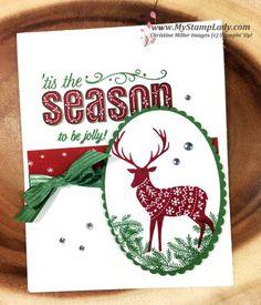 Merry Patterns Stamp. Ink: Cherry Cobbler, Garden Green. CS: WW, Garden Green, Be Merry DSP. Layering Ovals, Garden Green Ribbon, Rhinestones.