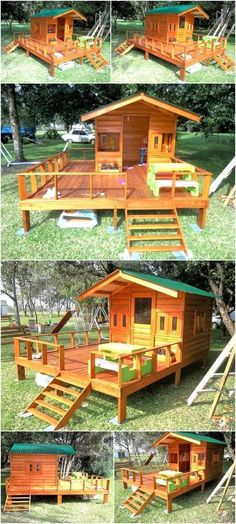 Kids require a place to play because they get bored and they ask to go to the park or any other place outside the home, which is not safe these days. We love to collect the ideas with which the kids can be made happy and here we are going to show one of those ideas, have a look at the repurposed wood pallet kid's patio playhouse and copy it if you have enough space on your patio. The playhouse is huge to allow placing the furniture on its terrace and it will be loved by the kids.