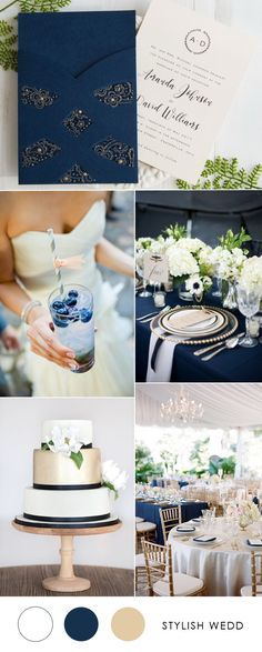 navy blue and white elegant wedding invitations 2017