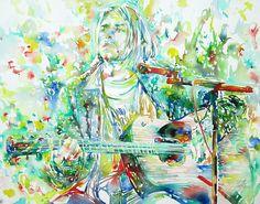 KURT COBAIN playing the guitar - watercolor portrait Canvas Print / Canvas Art by Fabrizio Cassetta Watercolor Portraits, Watercolor Paintings, Canvas Art, Canvas Prints, Art Prints, Kurt Cobain Art, Dark Portrait, Poster Making, Fine Art America