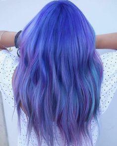 - 💜💙💜 چطوره؟ دوست دارین؟😍😍 برای دیدن کار… How is it? Hair # Color hair # Style_m - Vivid Hair Color, Cool Hair Color, Hair Color Experts, Braid In Hair Extensions, Wild Hair, Scene Hair, Hair Colorist, Hair Highlights, Blue Hair