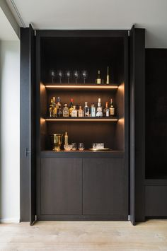 Built In Bar Cabinet, Home Bar Cabinet, Built In Cabinets, Drinks Cabinet, Bar Cabinets For Home, Modern Bar Cabinet, Home Bar Rooms, Home Bar Decor, Kitchen Decor