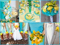 Beauty Wedding Colors Turquoise Flowers Yellow Colored