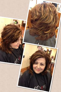 Color , highlights and cut . Created by Marisa at Entourage Hair Salon and Spa.