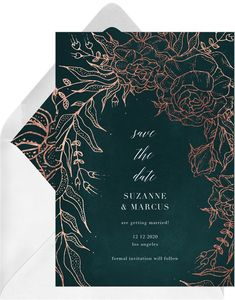 A elegant and romantic design of an enchanted hand drawn botanical scene. Finished with foil detail for glamor and a whimsical style. Plum Wedding Invitations, Black And Gold Invitations, Create Invitations, Save The Date Invitations, Digital Invitations, Wedding Cards, Wedding Invatations, Weddingideas, Gold Foil
