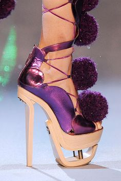 John Galliano Fall 2009 Ready-to-Wear Collection - Vogue Funky Shoes, Me Too Shoes, Weird Shoes, Lace Up Heels, Pumps Heels, Stiletto Heels, Prom Heels, Wedding Heels, Beauty