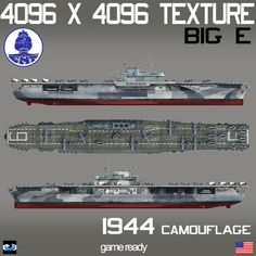 USS Enterprise BIG E 1944 Camouflage Model available on Turbo Squid, the world's leading provider of digital models for visualization, films, television, and games. Uss Enterprise Cv 6, Battle Ships, Capital Ship, Us Navy Ships, Planet Of The Apes, United States Navy, Aircraft Carrier, 3ds Max, Godzilla