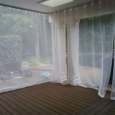 How To Create Mosquito Netting Curtains For Patio Porch Make These With Marine Snaps Velcro Magnets Weights The Bottom And Elastic Cord