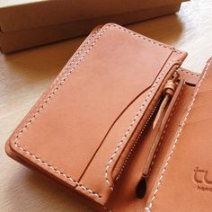 Tan Leather wallet Genuine Leather Handmade biker by turagoods
