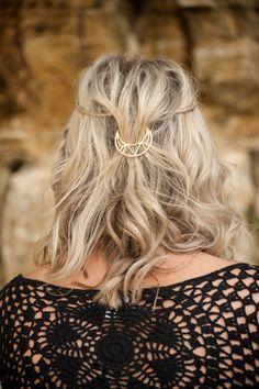 Moon Hair Clip, Gold Hair Clip, Boho Accessory, Boho Hair Accessory,  Boho Hair Comb, Bohemian Hair Clip, Crescent Moon Hair Clip, Hair Pin by Stephanieverafter on Etsy https://www.etsy.com/listing/293620133/moon-hair-clip-gold-hair-clip-boho